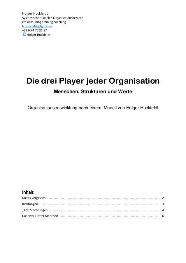 Holger Huckfeldt Systemischer Coach * Organisationsberater ctc consulting training coaching h.huckfeldt@gmx.net +33 6 74 7...