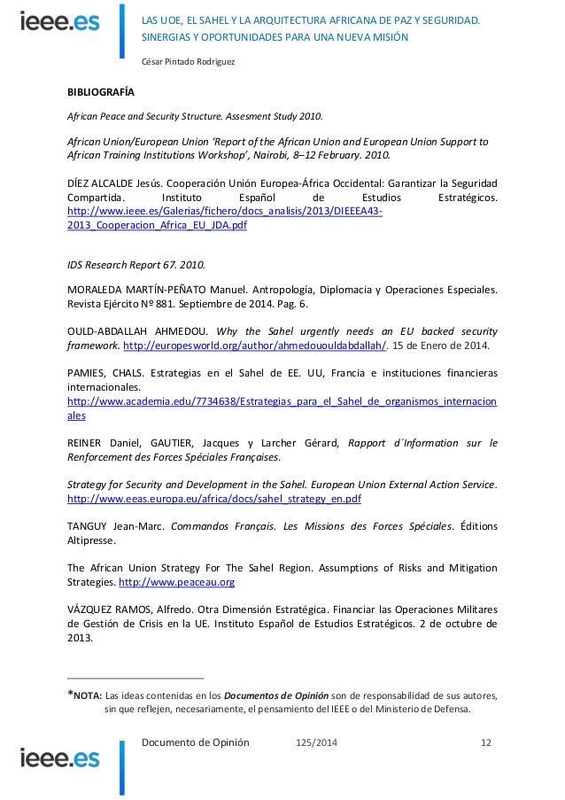Las UOE, el Sahel y la Arquitectura Africana de Paz y Seguridad. Sine…
