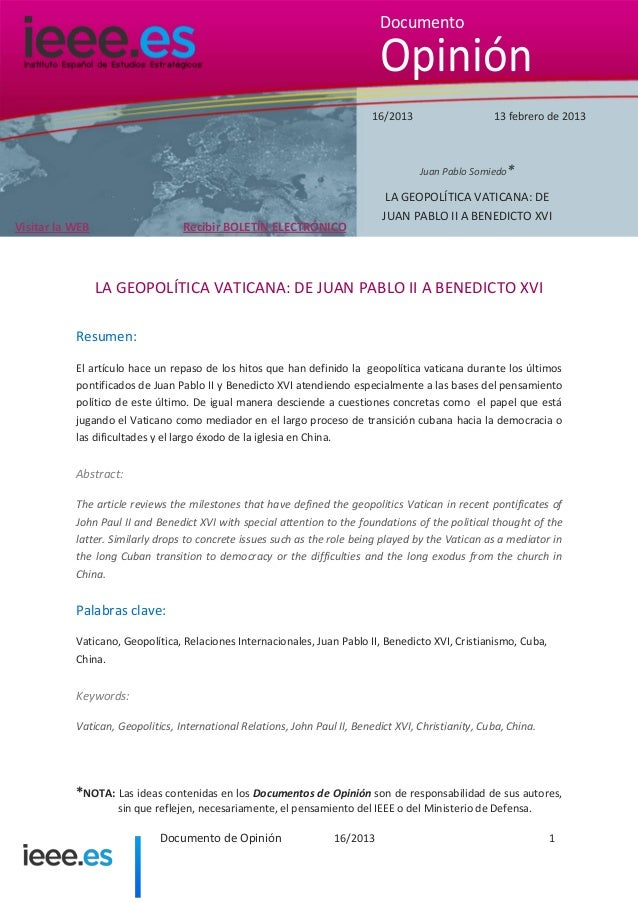 Documento  Opinión 16/2013  13 febrero de 2013  Juan Pablo Somiedo*  Recibir BOLETÍN ELECTRÓNICO  Visitar la WEB  LA GEOPO...