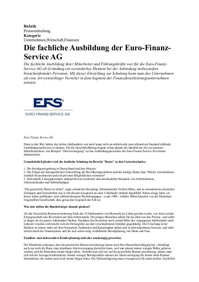 Rubrik Pressemitteilung Kategorie Unternehmen,Wirtschaft,Finanzen  Die fachliche Ausbildung der Euro-FinanzService AG Die ...