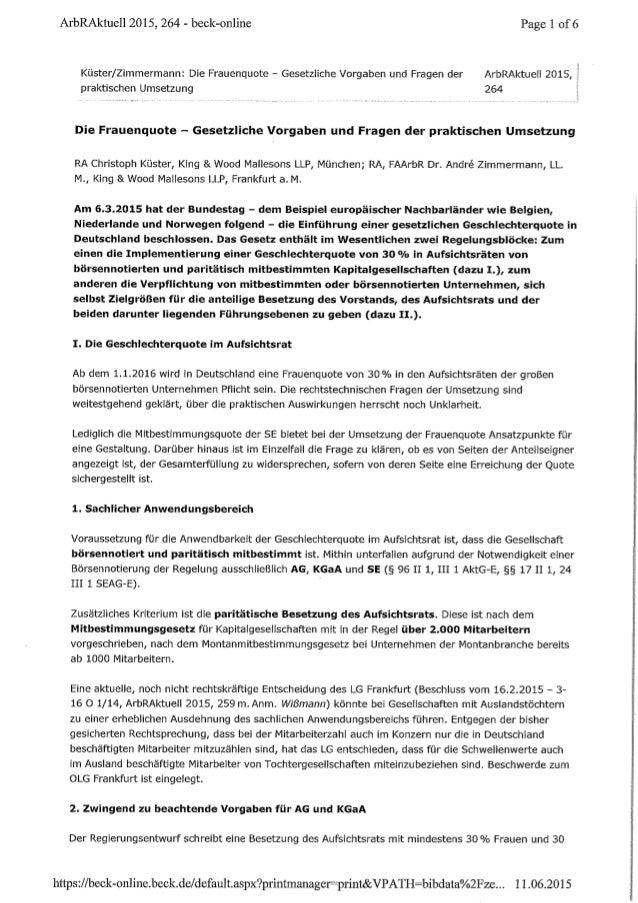 Die Frauenquote - Gesetzliche Vorgaben und Fragen der praktischen Umsetzung