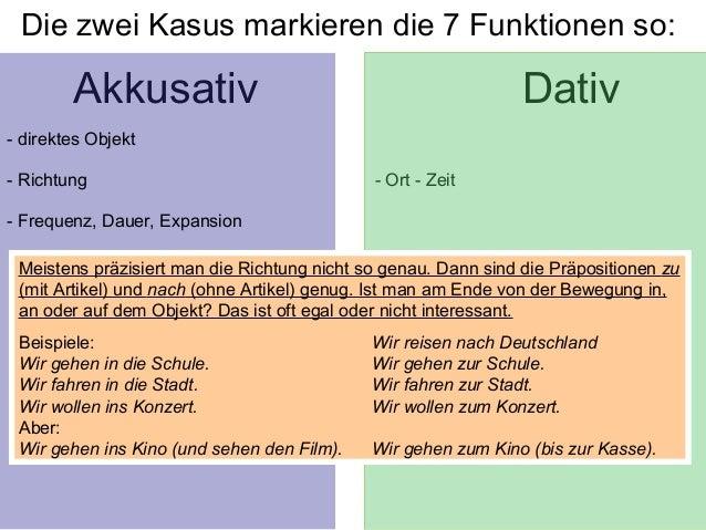 Die funktionen der kasus for Nach akkusativ oder dativ