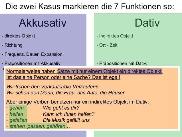 Die funktionen der kasus for Von akkusativ oder dativ