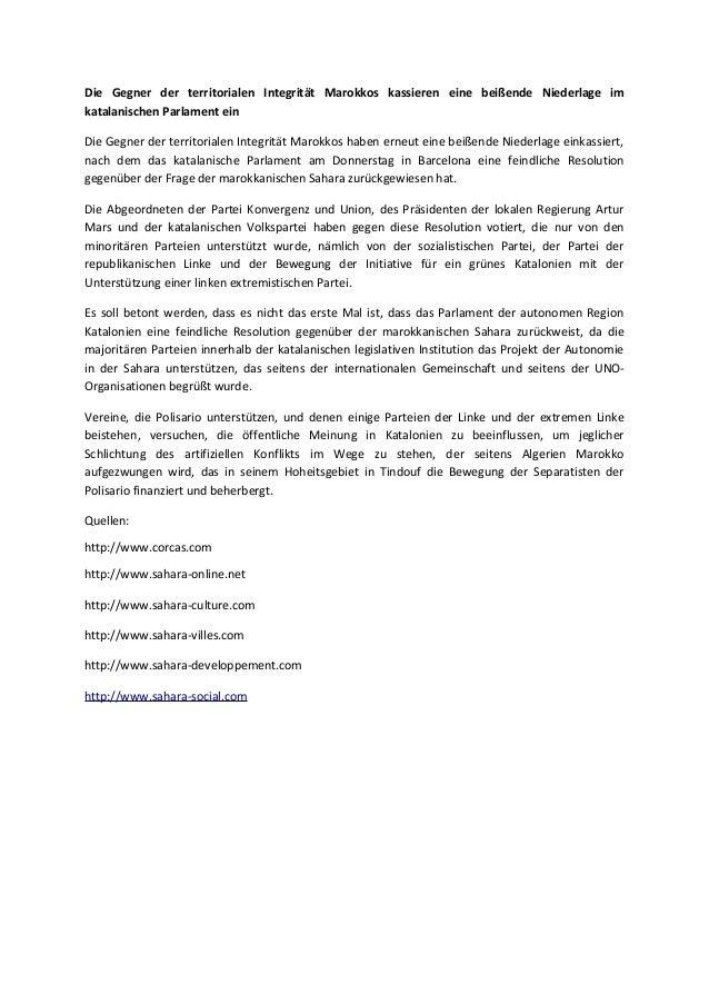Die Gegner der territorialen Integrität Marokkos kassieren eine beißende Niederlage im katalanischen Parlament ein Die Geg...