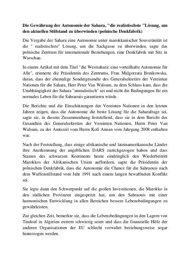 """Die Gewährung der Autonomie der Sahara, """"die realistischste """"Lösung, um den aktuellen Stillstand zu überwinden (polnische ..."""