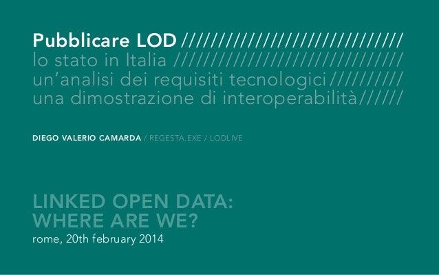 Pubblicare LOD/////////////////////////////// lo stato in Italia//////////////////////////////// un'analisi dei requisiti ...