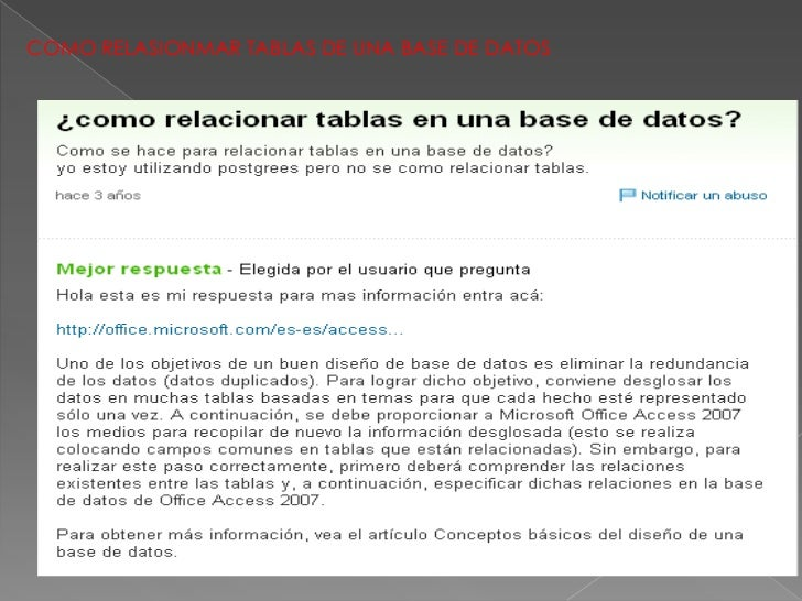 COMO RELASIONMAR TABLAS DE UNA BASE DE DATOS