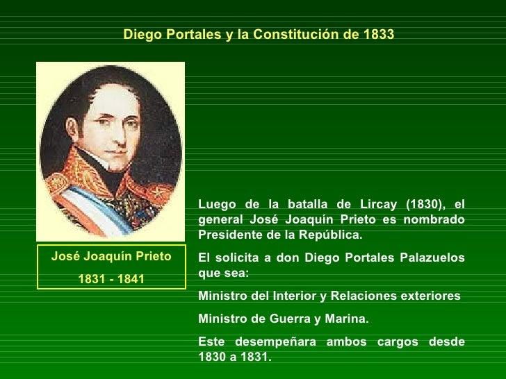 Diego Portales y la Constitución de 1833 Luego de la batalla de Lircay (1830), el general José Joaquín Prieto es nombrado ...