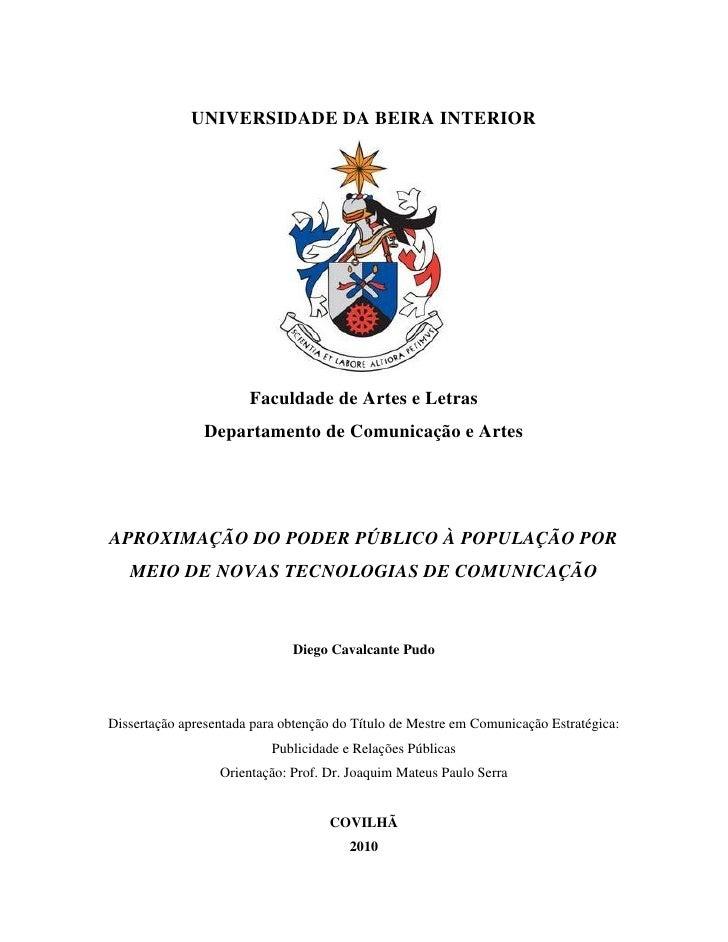 Dissertação: Aproximação do poder público à população por meio de novas tecnologias de comunicação