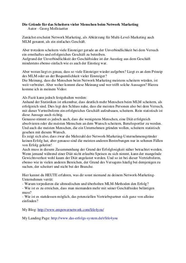 Die Gründe für das Scheitern vieler Menschen beim Network Marketing   Autor - Georg MollstaetterZunächst erscheint Network...