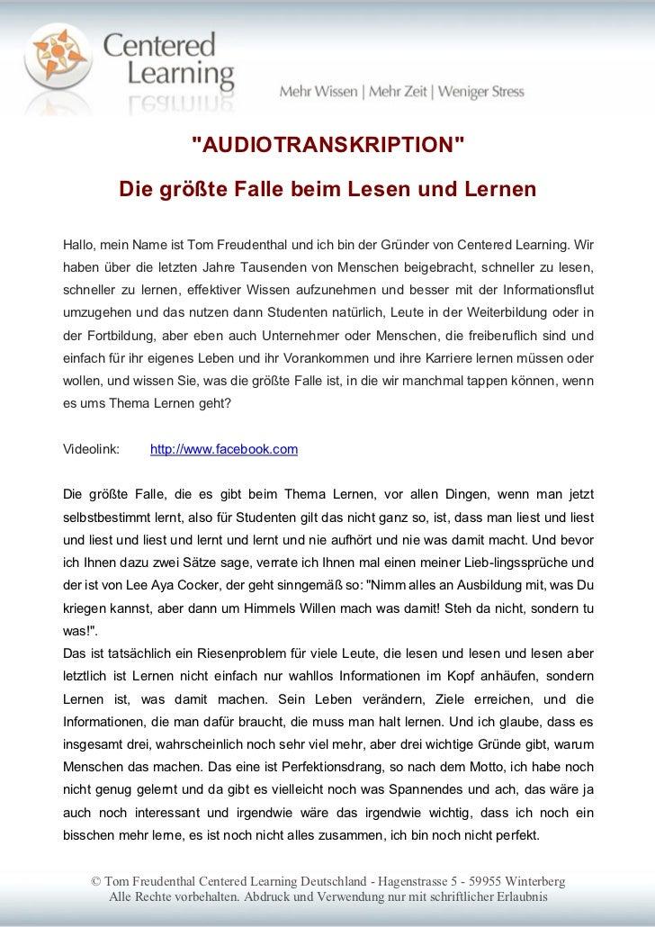 """""""AUDIOTRANSKRIPTION""""         Die größte Falle beim Lesen und LernenHallo, mein Name ist Tom Freudenthal und ich bin der Gr..."""