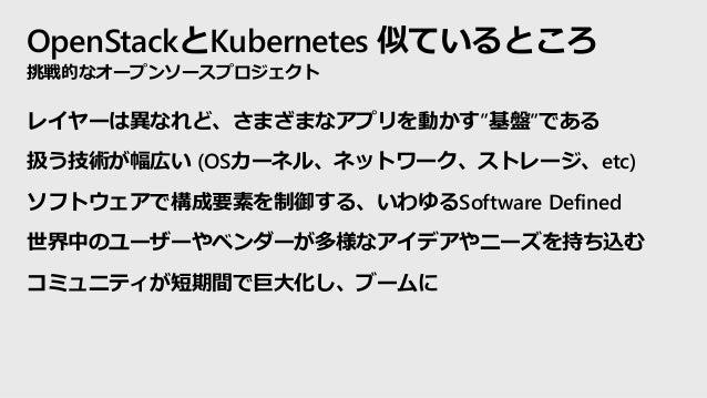 """OpenStackとKubernetes 似ているところ レイヤーは異なれど、さまざまなアプリを動かす""""基盤""""である 扱う技術が幅広い (OSカーネル、ネットワーク、ストレージ、etc) ソフトウェアで構成要素を制御する、いわゆるSoftwar..."""