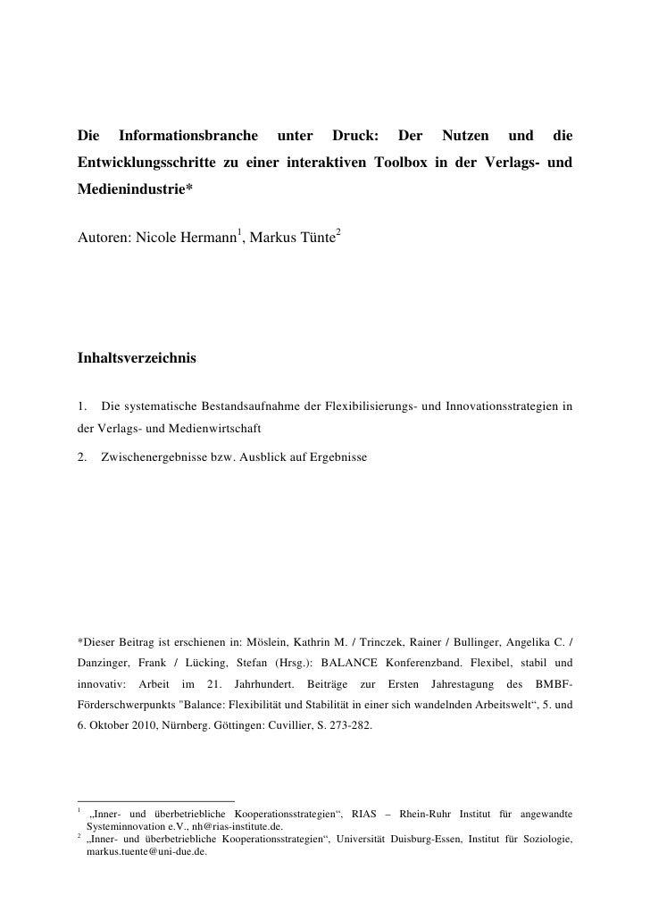 Die        Informationsbranche               unter       Druck:        Der       Nutzen        und       die Entwicklungss...