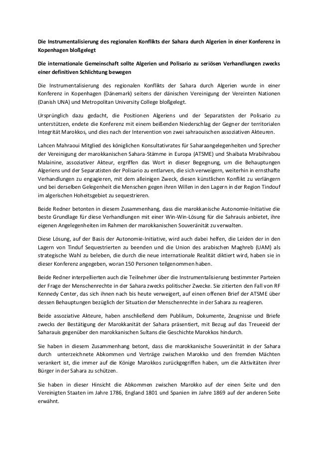 Die Instrumentalisierung des regionalen Konflikts der Sahara durch Algerien in einer Konferenz in Kopenhagen bloßgelegt Di...