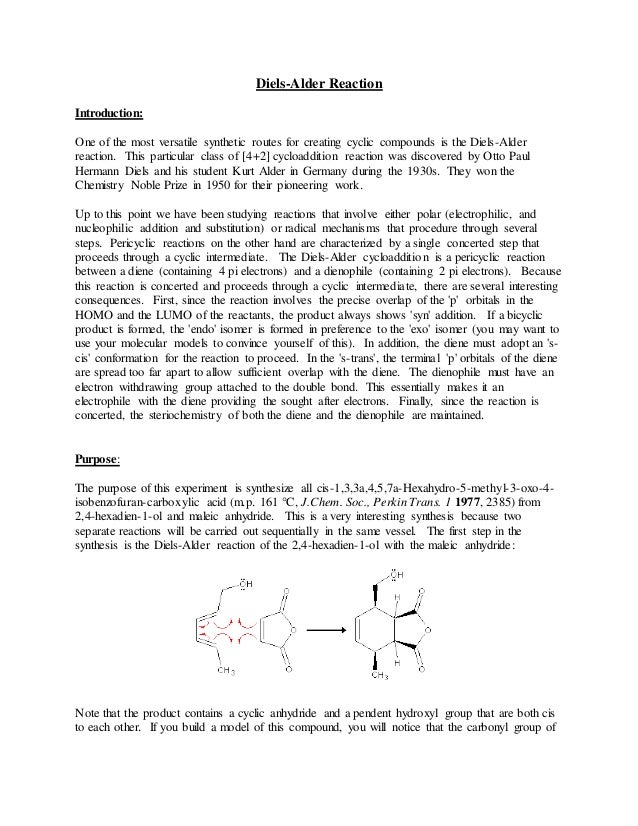 Diels-Alder Reaction Introduction: One of the most versatile synthetic routes for creating cyclic compounds is the Diels-A...