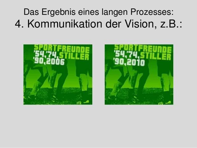 Das Ergebnis eines langen Prozesses: 4. Kommunikation der Vision, z.B.: