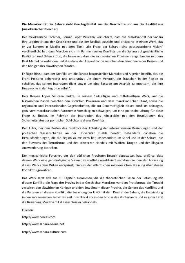 Die Marokkanität der Sahara zieht ihre Legitimität aus der Geschichte und aus der Realität aus (mexikanischer Forscher) De...