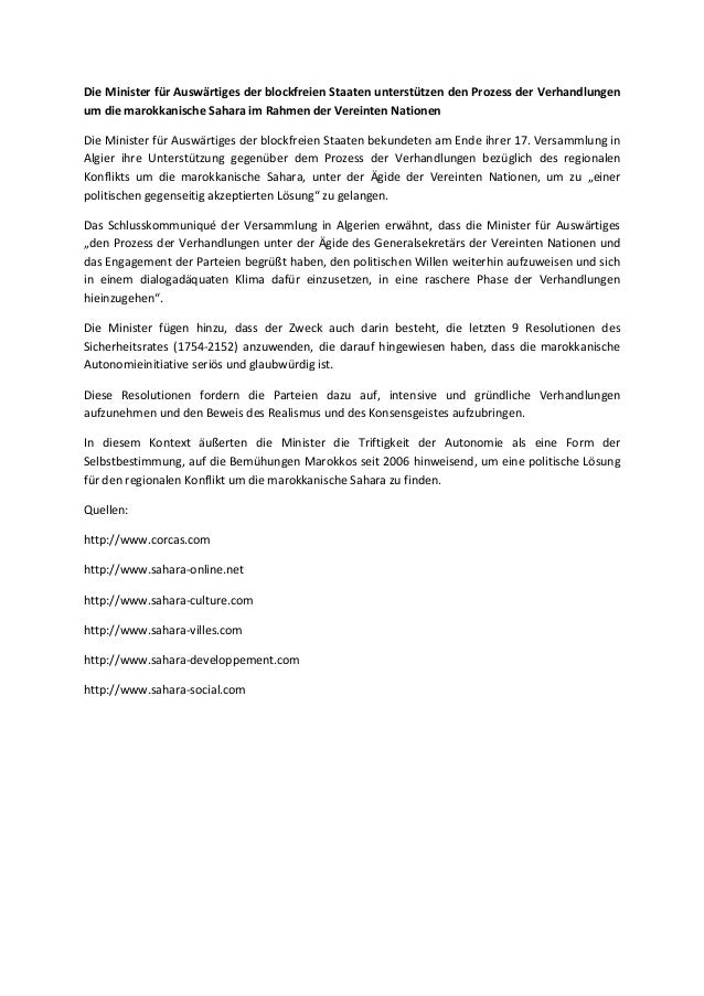 Die Minister für Auswärtiges der blockfreien Staaten unterstützen den Prozess der Verhandlungen um die marokkanische Sahar...