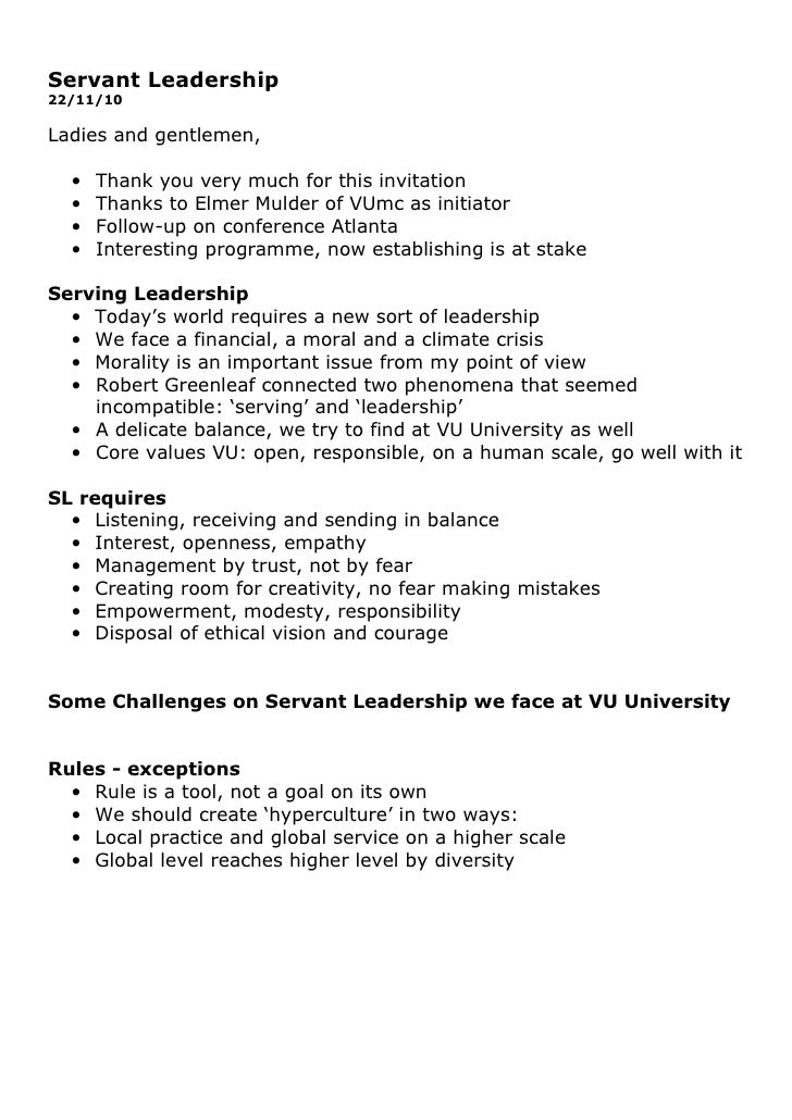 Servant Leadership22/11/10Ladies and gentlemen,  •   Thank you very much for this invitation  •   Thanks to Elmer Mulder o...