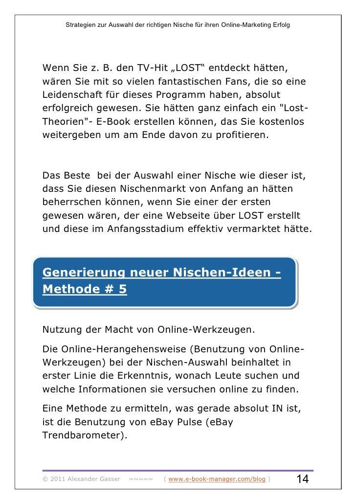 """Strategien zur Auswahl der richtigen Nische für ihren Online-Marketing ErfolgWenn Sie z. B. den TV-Hit """"LOST"""" entdeckt hät..."""