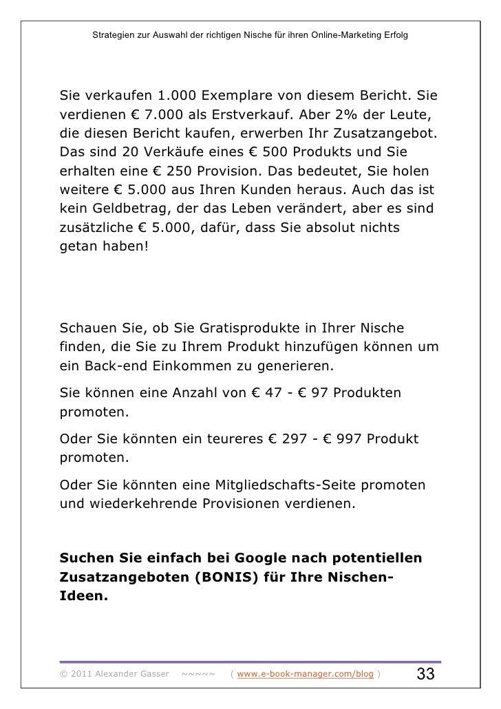Strategien zur Auswahl der richtigen Nische für ihren Online-Marketing ErfolgSie verkaufen 1.000 Exemplare von diesem Beri...
