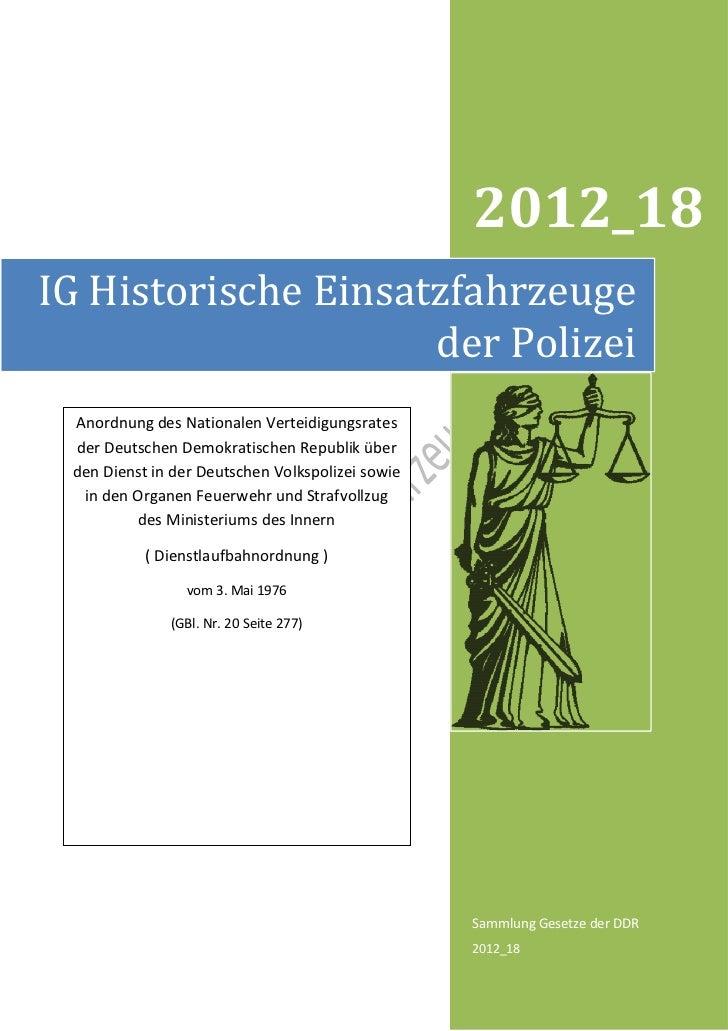 2012_18IG Historische Einsatzfahrzeuge                     der Polizei Anordnung des Nationalen Verteidigungsrates der Deu...