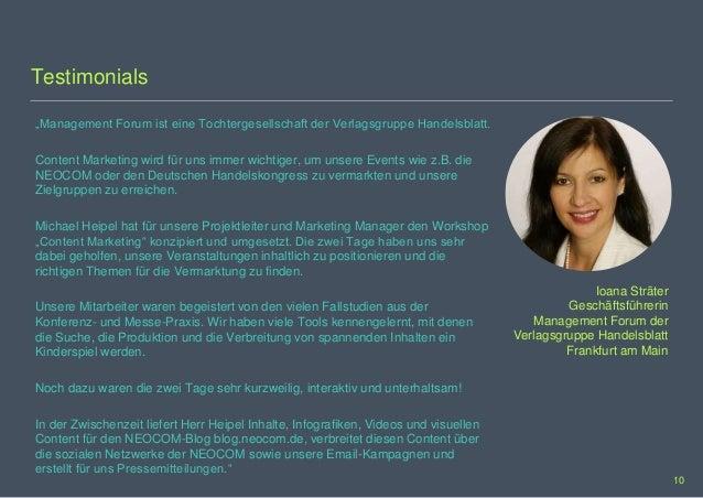 """Testimonials """"Management Forum ist eine Tochtergesellschaft der Verlagsgruppe Handelsblatt. Content Marketing wird für uns..."""