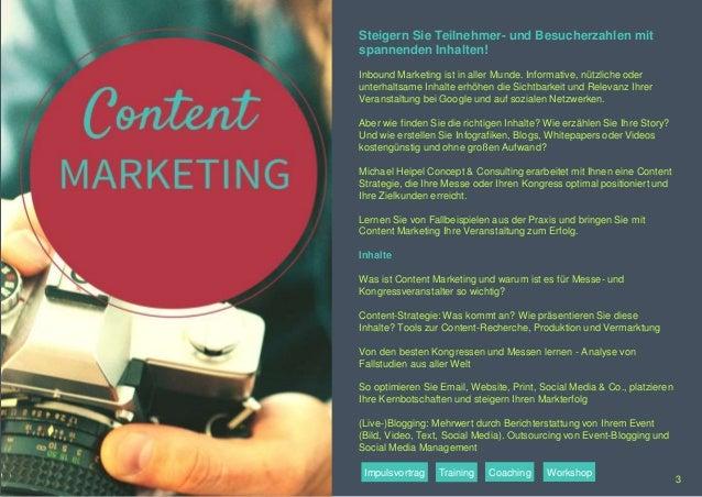 Steigern Sie Teilnehmer- und Besucherzahlen mit spannenden Inhalten! Inbound Marketing ist in aller Munde. Informative, nü...