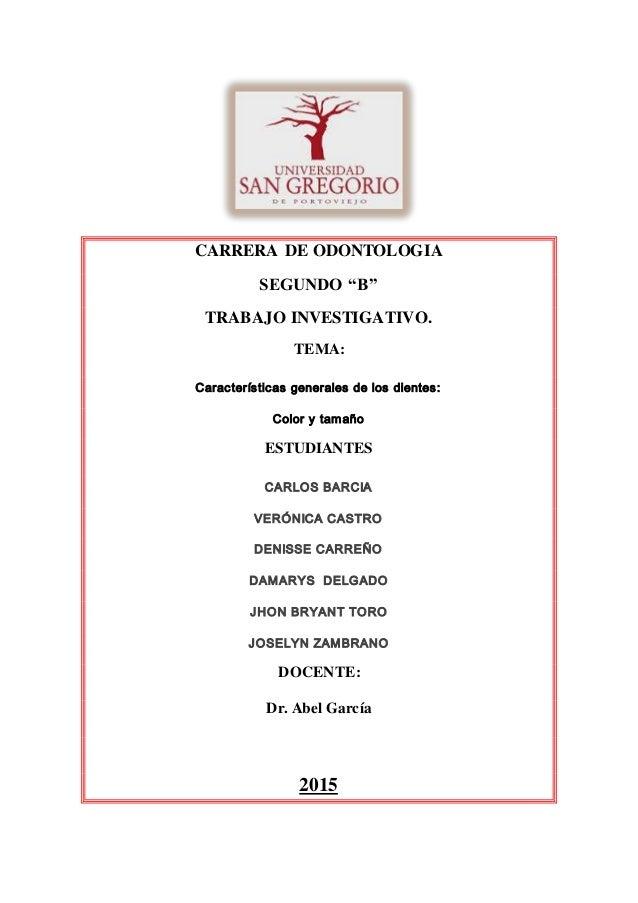 CARACTERÍSTICAS GENERALES DE LOS DIENTES: COLOR Y TAMAÑO DOC