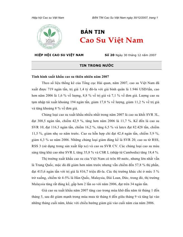 Hiệp hội Cao su Việt Nam                 BẢN TIN Cao Su Việt Nam ngày 30/12/2007, trang 1                                 ...