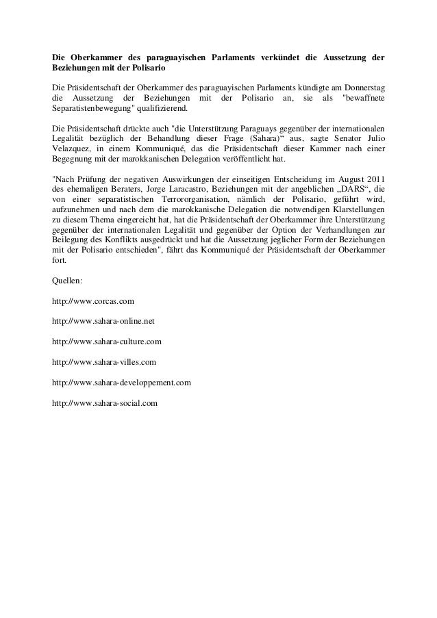 Die Oberkammer des paraguayischen Parlaments verkündet die Aussetzung der Beziehungen mit der Polisario Die Präsidentschaf...