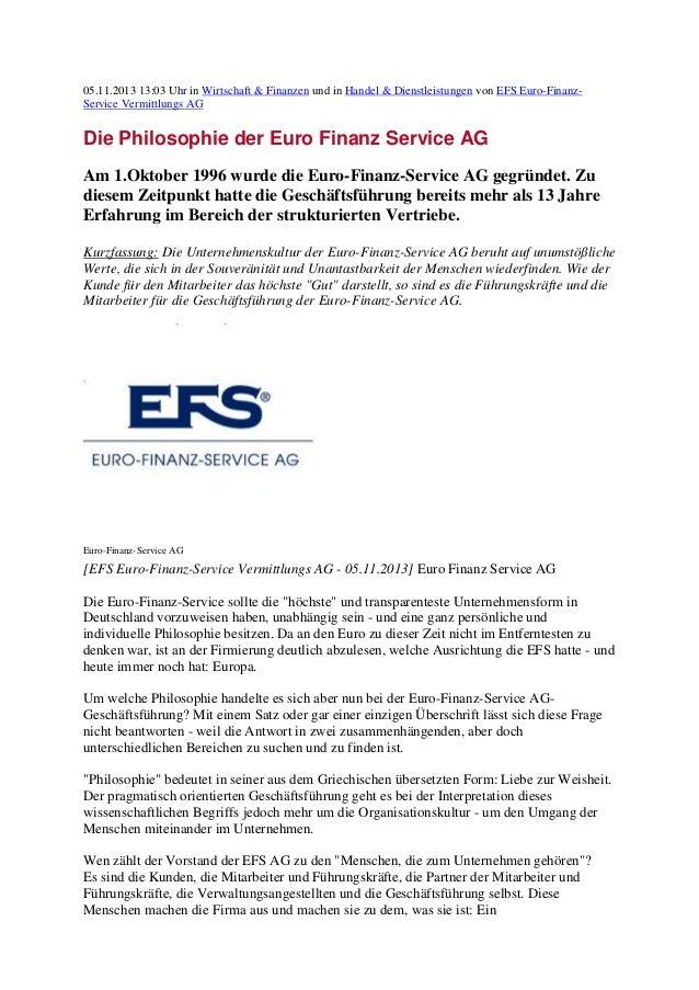 05.11.2013 13:03 Uhr in Wirtschaft & Finanzen und in Handel & Dienstleistungen von EFS Euro-FinanzService Vermittlungs AG ...