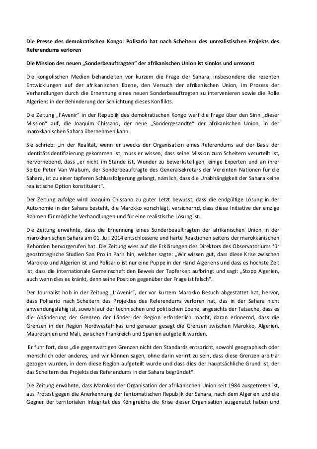 Die Presse des demokratischen Kongo: Polisario hat nach Scheitern des unrealistischen Projekts des Referendums verloren Di...