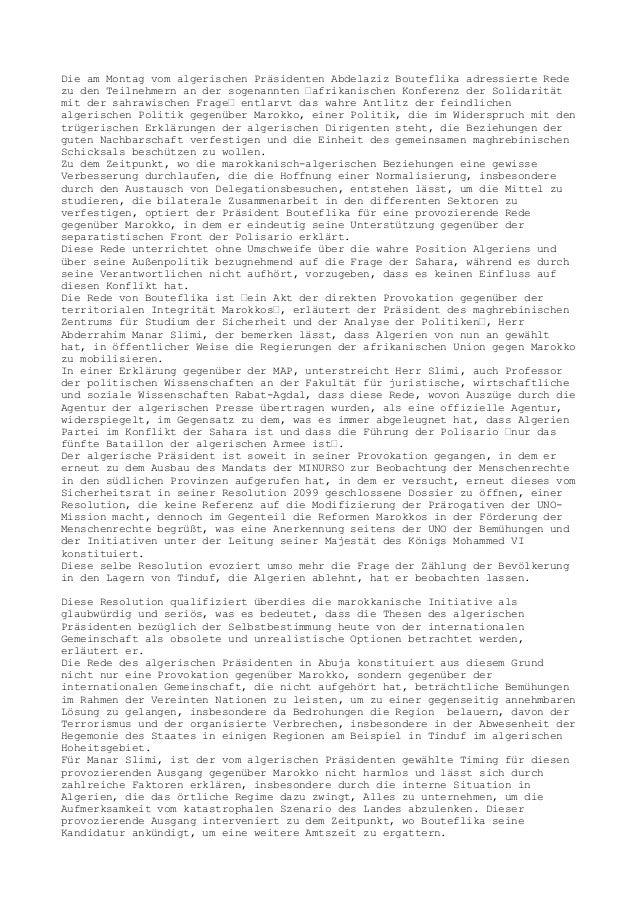 """Die am Montag vom algerischen Präsidenten Abdelaziz Bouteflika adressierte Rede zu den Teilnehmern an der sogenannten """"afr..."""