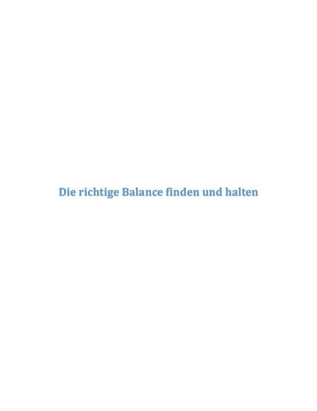 Die richtige Balance finden und halten