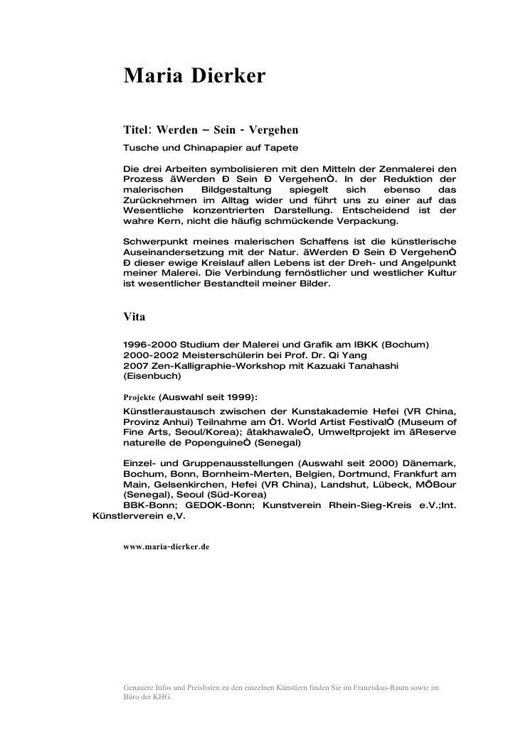 Maria Dierker       Titel: Werden – Sein - Vergehen      Tusche und Chinapapier auf Tapete       Die drei Arbeiten symboli...