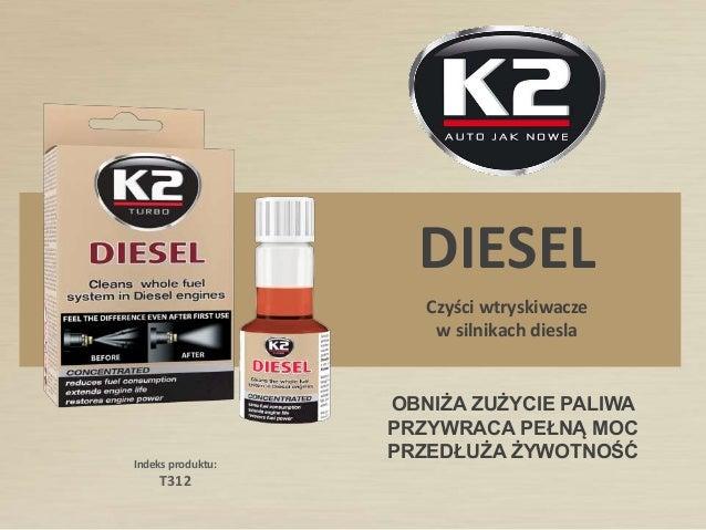 Indeks produktu: T312 DIESEL OBNIŻA ZUŻYCIE PALIWA PRZYWRACA PEŁNĄ MOC PRZEDŁUŻA ŻYWOTNOŚĆ Czyści wtryskiwacze w silnikach...
