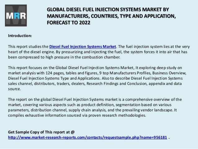 Global Diesel Fuel Injection Systems Market 2017 to 2022 by