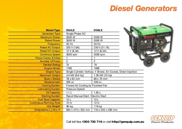 Diesel Generators Model Type DG4LE DG6LE