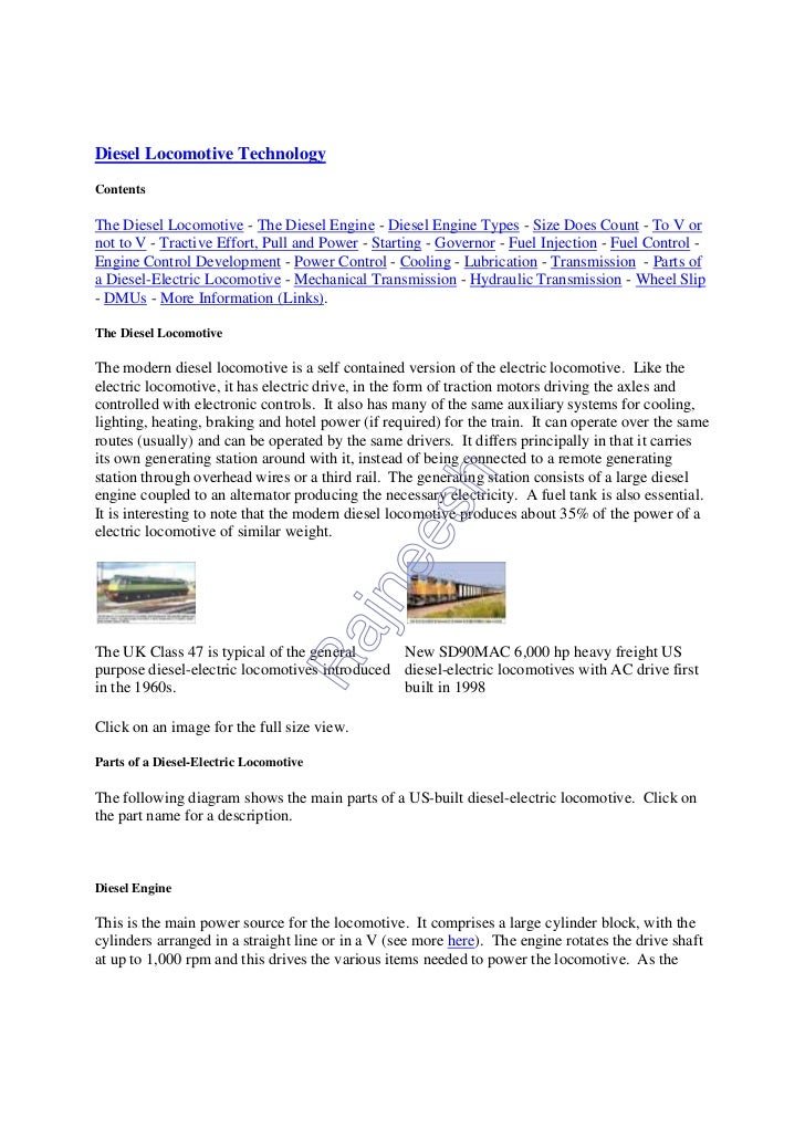 Diesel Locomotive TechnologyContentsThe Diesel Locomotive - The Diesel Engine - Diesel Engine Types - Size Does Count - To...