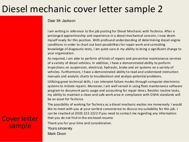 yours sincerely mark dixon cover letter sample 3 diesel mechanic - Resume Cover Letter Mechanic