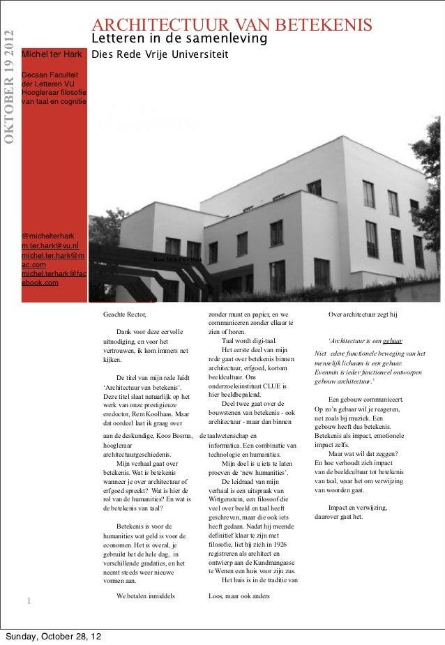 ARCHITECTUUR VAN BETEKENISOKTOBER 19 2012                                         Letteren in de samenleving              ...
