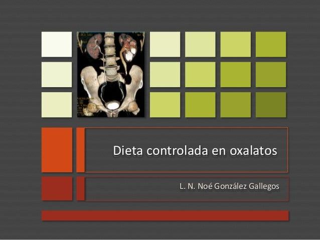 Dieta controlada en oxalatos L. N. Noé González Gallegos