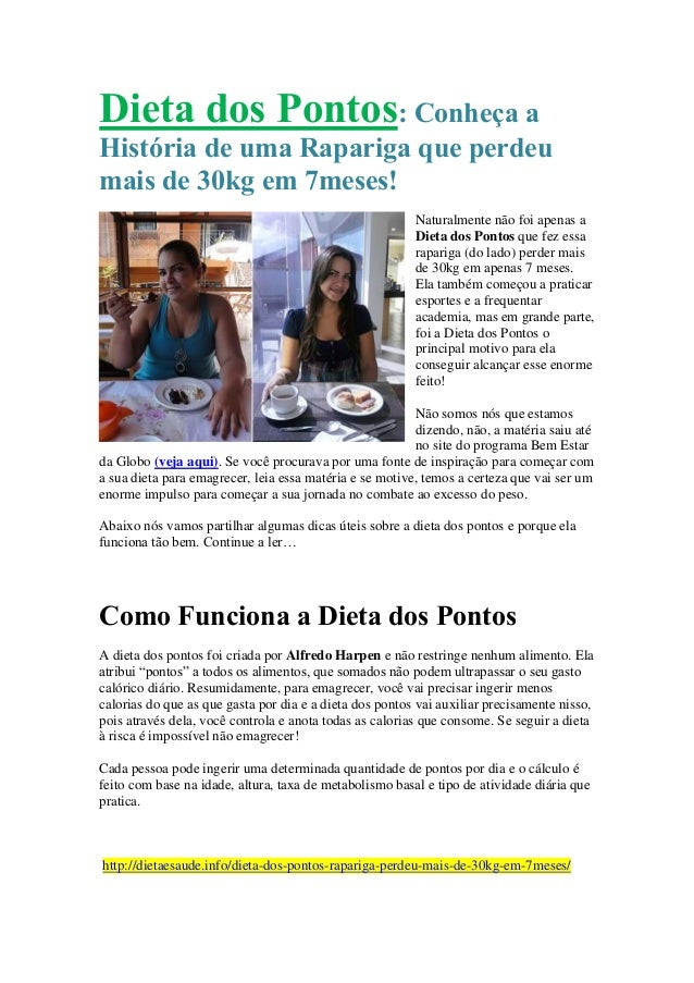 Dieta dos Pontos: Conheça a História de uma Rapariga que perdeu mais de 30kg em 7meses! Naturalmente não foi apenas a Diet...