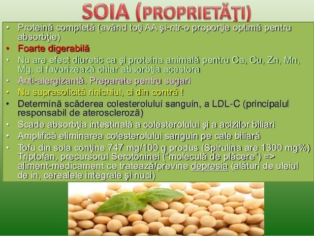•Soia nu conţine colesterol  •Furnizează 377 kcal / 100g produs  •Conţine fibraţi  •În compoziţia ei găsim aproape toate v...