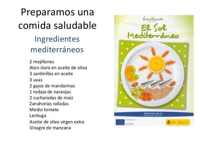 Preparamos una comida saludable Ingredientes mediterráneos 2 mejillones Atún claro en aceite de oliva 3 sardinillas en ace...