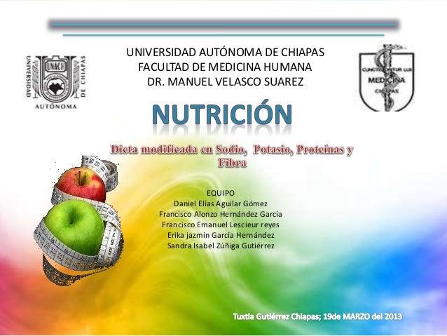 UNIVERSIDAD AUTÓNOMA DE CHIAPAS FACULTAD DE MEDICINA HUMANA DR. MANUEL VELASCO SUAREZ EQUIPO Daniel Elías Aguilar Gómez Fr...