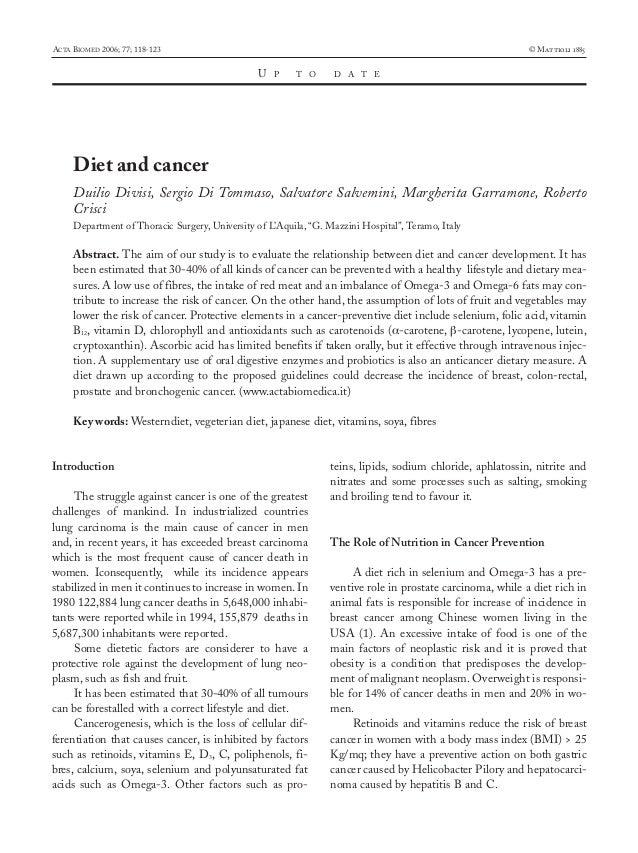 13-divisi  19-09-2006  16:44  Pagina 118  ACTA BIOMED 2006; 77; 118-123  © Mattioli 1885  U  P  T O  D A T E  Diet and can...