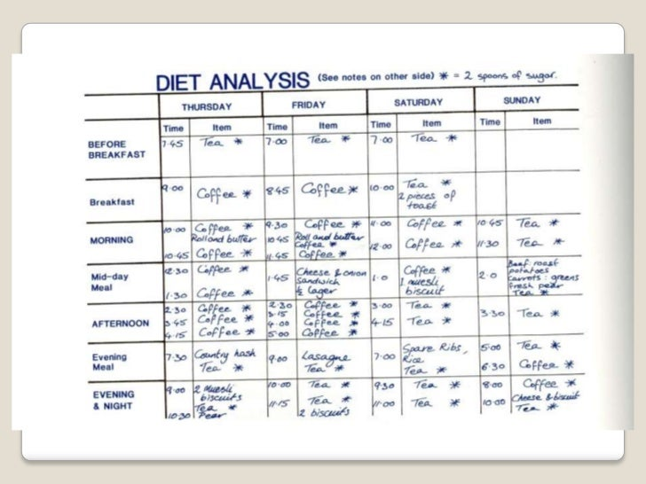 24-hour dietary recall form (excerpt), food intake analysis system.