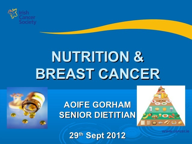 NUTRITION &BREAST CANCER   AOIFE GORHAM  SENIOR DIETITIAN    29th Sept 2012